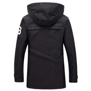 Zippered Snap Button Hooded Coat For Men - BLACK 4XL