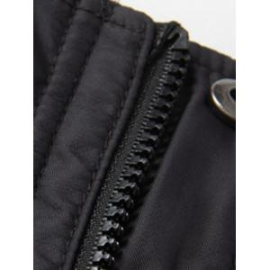 Zippered Snap Button Hooded Coat For Men -