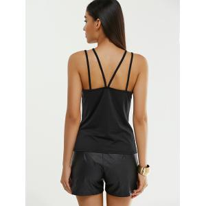 Cut Out Criss Cross Pure Color Skinny Tank Top -