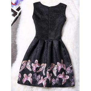 Charming Round Neck Sleeveless Butterfly Print Women's Dress -