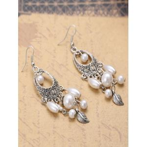 Leaf Artificial Pearl Earrings -