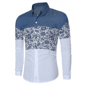 Floral Print Chambray Spliced Long Sleeve Shirt For Men -
