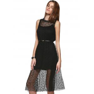 Loose-Fitting Openwork Scoop Neck A-line Dress and Spaghetti Strap Tank Top Set For Women -