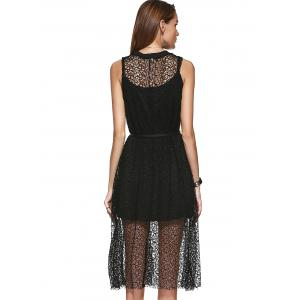 Loose-Fitting Openwork Scoop Neck A-line Dress and Spaghetti Strap Tank Top Set For Women - BLACK ONE SIZE(FIT SIZE XS TO M)
