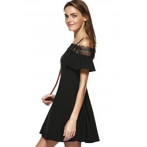 Stylish Lace Panelled Spaghetti Strap A-line Cold Shoulder Dress For Women -