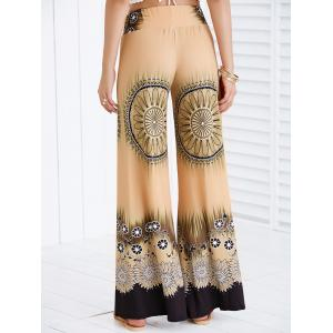 Printed Wide Leg Flare Palazzo Flowy Pants - EARTHY S