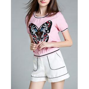 Short Sleeve Butterfly Embroidered T-Shirt + Mini Shorts Women's Twinset -