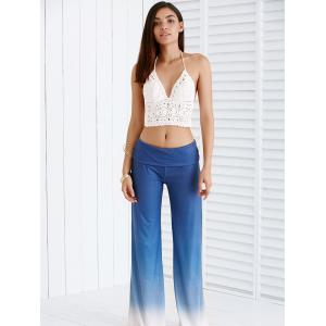 Chic Elastic Waist Ombre Loose-Fitting Women's Pants - ICE BLUE XXS