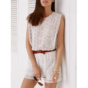 Elegant Sleeveless Cut Out White Side Boob Lace Romper For Women - WHITE M