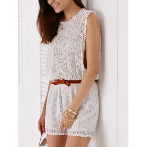 Elegant Sleeveless Cut Out White Side Boob Lace Romper For Women -