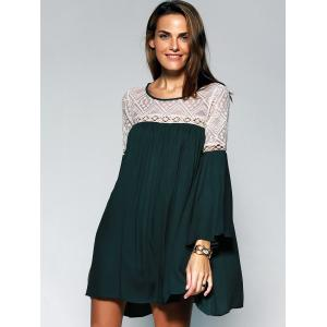 Loose-Fitting Women's Scoop Neck Lace See-through Bell Sleeves Tunic Dress -