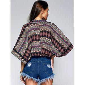 Ethnic Style Women's Plunging Neck Multicolor Print Short Sleeves Wrap Blouse -