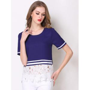 Floral Lace Insert Striped Contrast Tee -