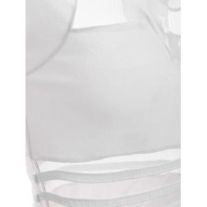 Hot Tulle Cutout See Through Mini Club Fitted Bandage Dress - WHITE L