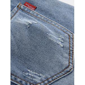Plus Size Trendy Beading Studded Jeans - BLUE 42