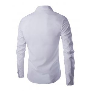Star Pattern Solid Color Shirt Collar Long Sleeves Shirt For Men - WHITE XL