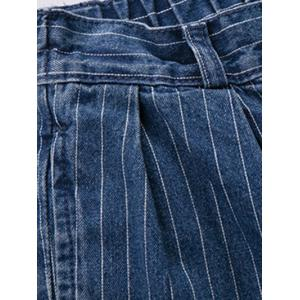 Plus Size Casual Back Pockets Striped Jeans -