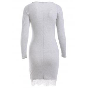 Long Sleeve Round Neck Lace Spliced Hem Dress -