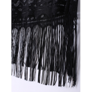 Scoop Neck Tassel Embellished Women's Lace Tank Top - BLACK XL