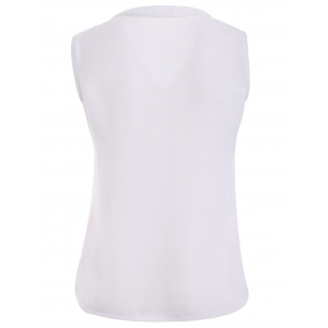 V-Neck Solid Color Women's Chiffon Tank Top -