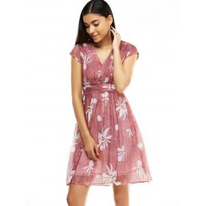 Sweet Women's Floral Print Cap Sleeves Flare Dress -