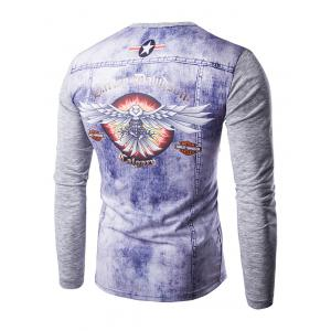 3D Zipper Printing V-Neck Long Sleeves T-Shirt For Men - GRAY 2XL