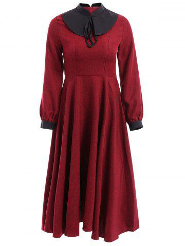 Outfits Vintage Long Sleeve Spliced Bowknot Design Women's Dress
