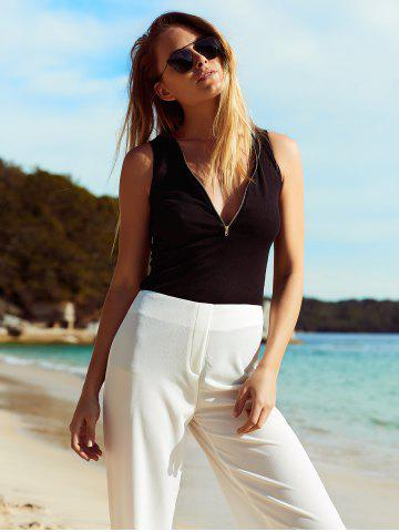 Chic Chic Plunging Neck Zipper Design Solid Color Women's Tank Top