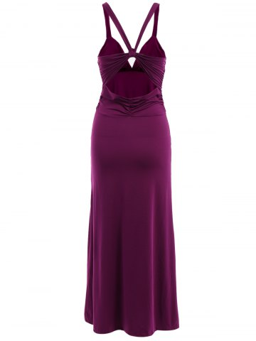 Fashion Vintage Plunging Neck Backless Rhinestone Long Prom Dress For Women