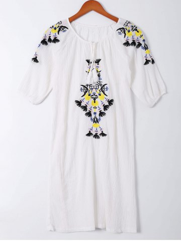 Sale Bohemian Tie Embroidered Short Sleeves Dress For Women