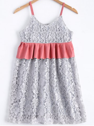 Chic Stylish Spaghetti Strap Panelled Lace A-line Dress For Women