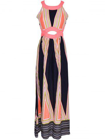 Fancy Attractive Women's Hollow Out Printed Maxi Dress