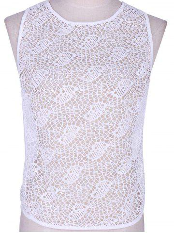 Shops Chic Women's White Crochet Open Work Tank Top