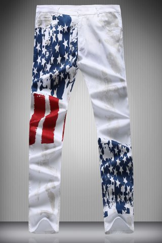 Outfits Zipper Fly Star and Stripe Print Narrow Feet Pencil Pants For Men