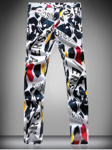 New Zipper Fly Color Block Letter Scrawl Print Narrow Feet Pencil Pants For Men
