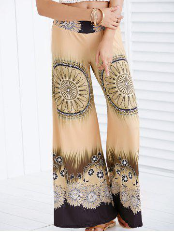 Online Printed Wide Leg Flare Palazzo Flowy Pants EARTHY S