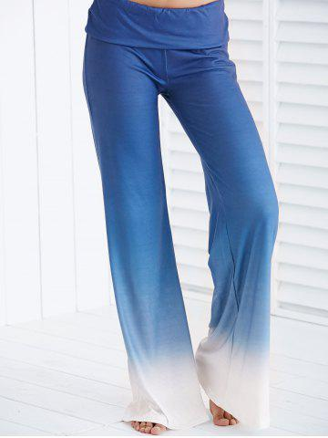Affordable Chic Elastic Waist Ombre Loose-Fitting Women's Pants ICE BLUE S