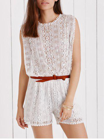 Latest Elegant Sleeveless Cut Out White Side Boob Lace Romper For Women WHITE M