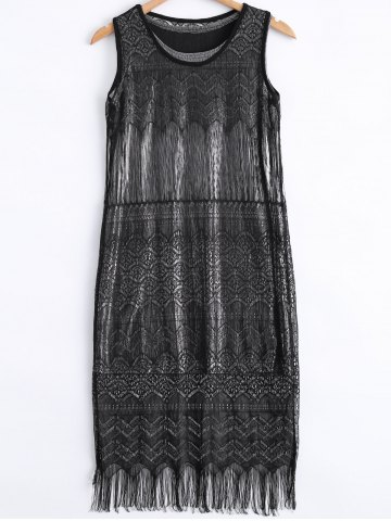Affordable Stylish Scoop Neck Lace Fringe Tank Dress and Metallic Color Tank Dress Set For Women