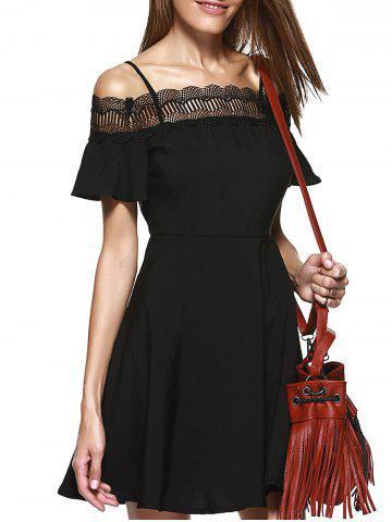 Sale Stylish Lace Panelled Spaghetti Strap A-line Cold Shoulder Dress For Women