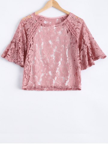 Affordable Sweet Solid Color Scoop Neck Lace Bell Sleeves Blouse and Spaghetti Strap Tank Top Twinset For Women
