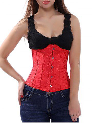 Lace Up Jacquard Women's Corset - Red - M