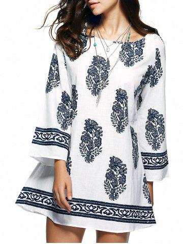 Shops Casual Ethnic Floral Print Mini Tunic Dress WHITE 2XL