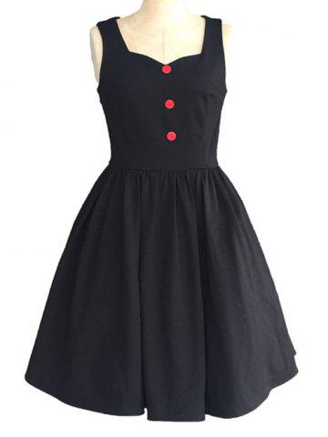 Sale Retro Sweetheart Neck Pure Color Button Ruched Skater Dress