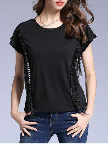 Best Black Short Sleeve Fringed T-Shirt