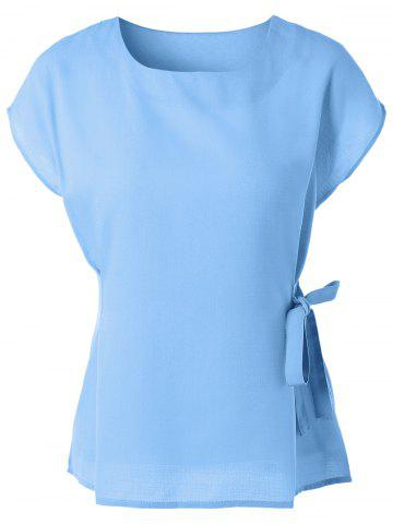 Trendy Cap Sleeve Candy Color Slimming Blouse LIGHT BLUE M