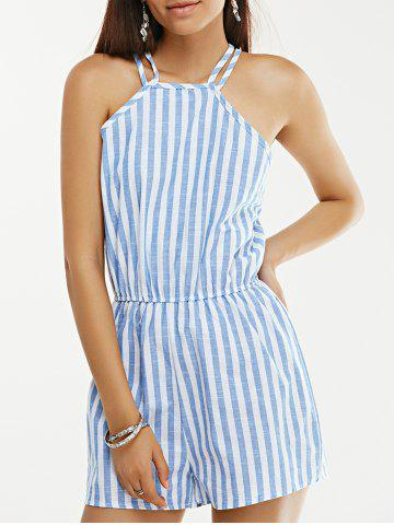 Open Back Sleeveless Striped High Neck Pants Romper - Stripe - M
