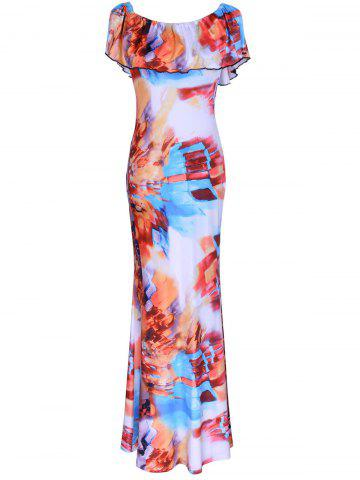 Discount Flounce Colorful Printed Dress