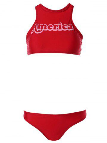 Fashion Alluring High Neck Letter Print Red Racer Bikini Set