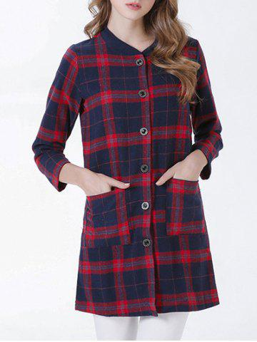 Outfit Chic Buttoned Pocket Design Plaid Women's Coat RED XL